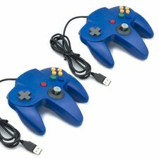 2X NINTENDO 64 N64 GAMES CLASSIC GAMEPAD CONTROLLERS FOR USB TO PC/MAC BLUE
