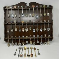 Lot Of 44 Vintage Miniature Collectible Spoons Collection With Wood Spoon Holder