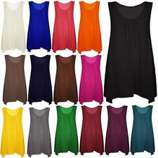 New ladies plus big size hanky hem baggy summer casual long tunic vest top^Hanky