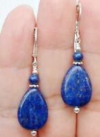Handmade Bold Blue Lapis Lazuli W. Gemstone Sterling Silver Earrings Leverbacks