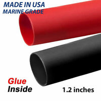 """1/2"""" Black & RED Adhesive Glue Lined Heat Shrink, MADE IN USA,MARINE GRADE THICK"""
