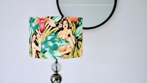 Pinup Lampshade Pin Up Girl, Ladies Nude Tropical Leaves Unique 30cm Table Lamp