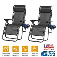 2 Folding Zero Gravity Chairs Garden Lounge Beach Camp Recliner With Cup Holder