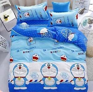 WellNight Super Cotton Blue Doremon Printed Cartoon Bedsheet 1 Pillow Cover FS