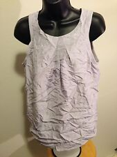 CLOSED Grey Knit Top Pink Lined Sleeveless Sz Medium Clasp Back 100% Silk