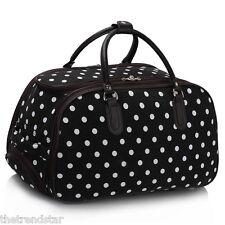 Ladies Travel Bags Holdall Hand Luggage Women's Weekend Handbag Wheeled Trolley Black Polka Dot 2