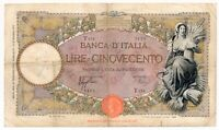 ITALY banknote 500 Lire 27.2.1940 VF Very Fine condition (2)