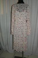 Zara Sheer Dress 7521/007/713, Beige w/Red & Brown Flowers, M, NWT