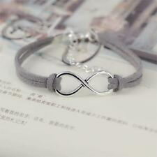 Silver Plated Infinity Grey Velvet Leather Rope Bracelet Birthday Gift