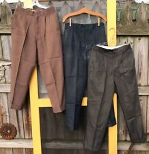 """3 Vtg Men's 1950s Drop Loop Dress Slacks Lightweight Pleat Cuff Taper Lot 32x30"""""""