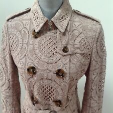 $2,595 NWT AUTH Burberry London Alington Lace Trench Coat Nude Color Women US 8