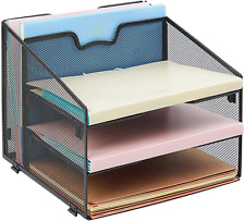 Mesh Desk Desktop File Organizer With 3 Paper Tray And 1 Vertical Compartment