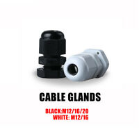 IP68 BLACK CABLE GLAND NYLON WITH NUT & WASHER - Sizes M12, M16, M20, M12L, M16L