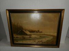 19th century oil painting,{ Beautiful winterlandscape, signed Th. Kreijns 1896}.