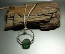 Rare  Nice Ancient Green Glass Bead jewerly Viking period 9-12 cen. AD #2548