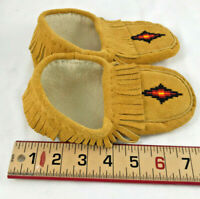 Size 13 Tan Suede Hand Made Moosehide Leather Toddler Moccasin Shoes Slippers