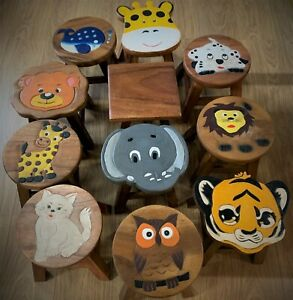 """Fair Trade Kids Wooden Stools - Many Beautiful Designs - Hand Made -10"""""""