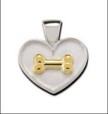 18K Gold - Dog Bone on Heart Lisa Welch - Charm - Sterling Silver &