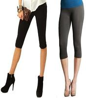 2 PACKS COTTON LYCRA 3/4 UNDER KNEE STRETCHY  SOFT CASUAL QUALITY LEGGINGS