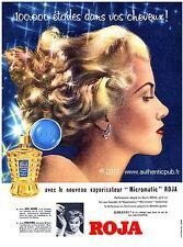 PUBLICITE ORIGINALE de 1953 ROJA VAPORISATEUR MICROMATIC CHEVEUX FRENCH AD PUB