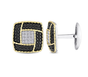 Lustrous Sterling Silver Deep Black Onyx With Bright White CZ Cushion Cufflinks
