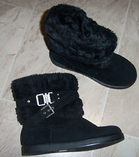New G by GUESS AZENIA BLACK BUCKLE STRAP FAUX FUR BOOTS WOMENS 8 M