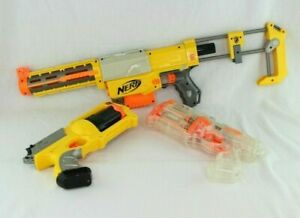 Nerf Recon CS-6 & Maverick Rev-6 Yellow and Clear with cartridges Lot of 3