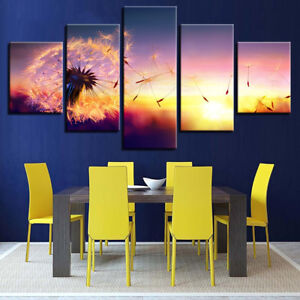 Dandelion Flower Sunset Meadow Landscape Painting 5 Panel Canvas Print Wall Art