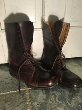 BURBERRY Brown Leather Ankle Boots Size 39 Combat Lace Up