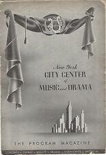 1945-46 Playbill New York City Center THE TEMPEST Vera Zorina Canada Lee