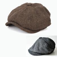 Men Visor Woolen Blending Newsboy Cap Beret Casual Winter Cabbie Hat US #