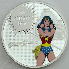 2016 $20 DC Comics Originals: WONDER WOMAN, 99.99% Pure Silver Color Proof Coin