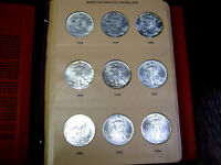 34 COIN COMPLETE SET SILVER AMERICAN EAGLE S IN DANSCO UNITED STATES DOLLARS UNC