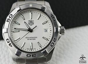 Tag Heuer Aquaracer Quartz White Pattern Dial Date Men's Watch WAP1111