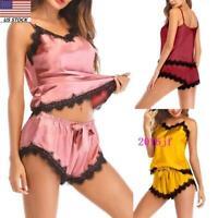 Women Sleepwear Lace Satin Pajamas Set Shorts Nightwear Camisole Underwear USA
