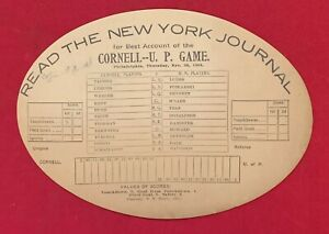 Antique 1901 Cornell vs Penn Football Game Diecut Scorecard Early Vintage 1900