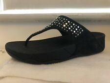 FitFlop Novy Navy Studded Flip Flops Thongs Sandals Suede Silver MSRP $70 NEW