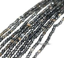4MM BLACK OBSIDIAN GEMSTONE FACETED ROUND 4MM LOOSE BEADS 7.5""