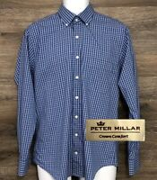 Peter Millar Crown Comfort Mens Blue Pink Plaid Long Sleeve Button Front Shirt M
