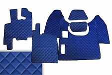 Set of 5 pcs BLUE Leather Floor Mats Covers for Truck DAF XF 95 Manual LHDrive