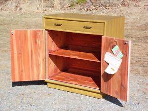 Vintage Mid Century Modern Lane Upright Space Saver Cedar Chest Storage Cabinet