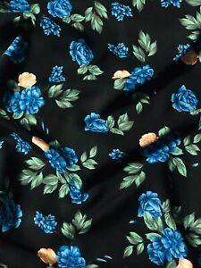 "3 Meter Blue/Black Roses Design Soft Linen Viscose Fabric 58"" Wide Dress"