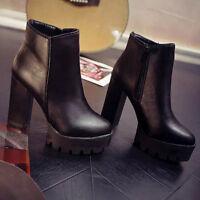 Women Autumn Platform High Heel Ankle Boots Fashion Faux Leather Shoes Blacks
