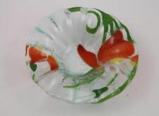 Sydenstricker Fused Art Glass Ruffled Edge Orange Floral Bowl~Cape Cod, MA