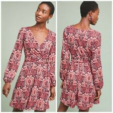 Anthropologie Maeve Paisley Belted Dress Retro Woman Flare Long Sleeve New Sz L