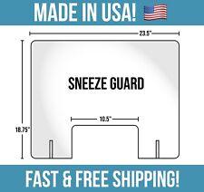 "Sneeze Guard Shield Retail Cashier Germ Barrier 23.75""x18.75"" Plexiglass"