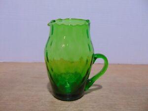 "Art Glass Creamer Oval Optic Emerald Green 4 3/8"""