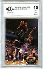 SHAQUILLE O'NEAL~1992 STADIUM CLUB MC BCCG-10 MINT+ GRADED ROOKIE RC CARD #201