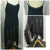 Vintage Joseph Ribkoff Couture black evening dress Flapper Gatsby UK 10