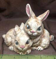 "2 Detailed 3 1/5"" H  Ceramic Brown Bunny Rabbits With Huge Eyes Vintage"